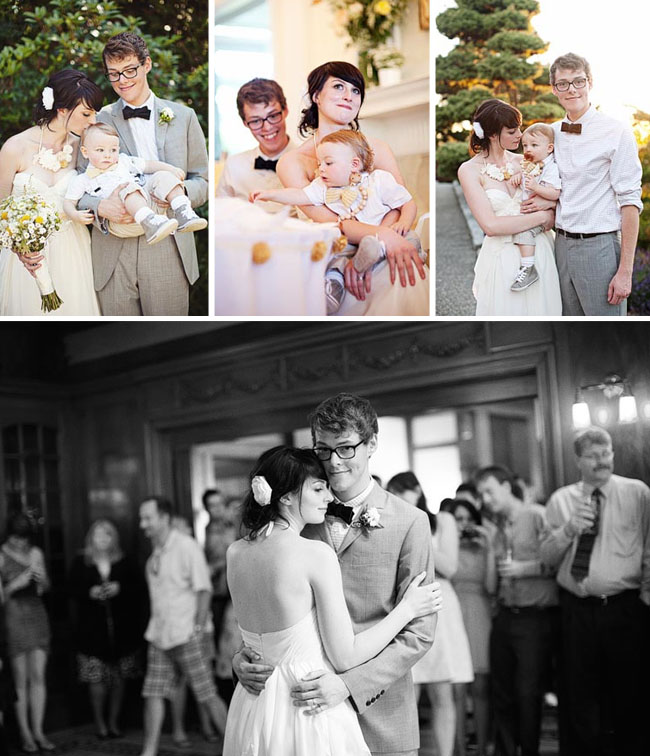 wedding couple with son