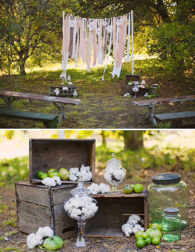 raw cotton green tomatoes wedding ceremony