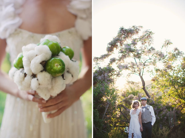 raw cotton and green tomato bouquet