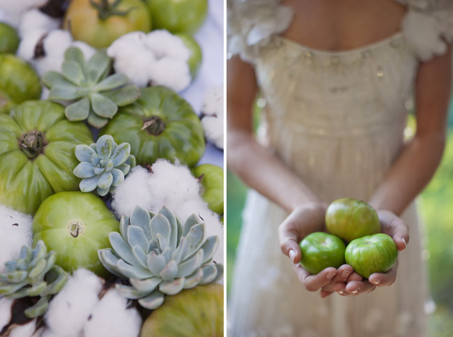 green tomatoes and succulents wedding