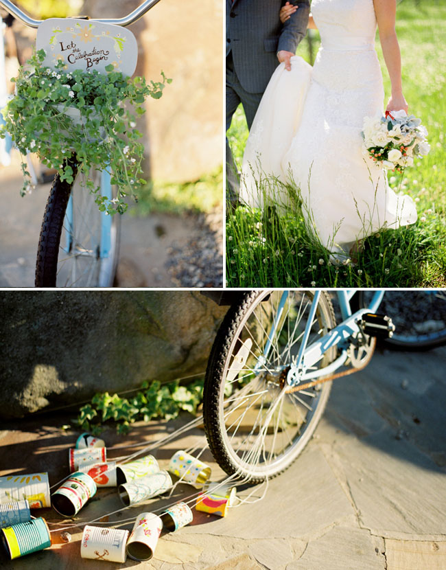 bike with painted cans for wedding