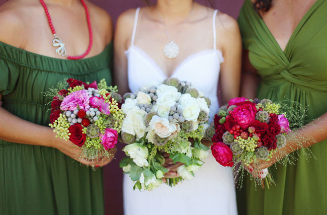 pink red bouquets