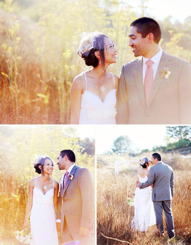 wedding portraits in field