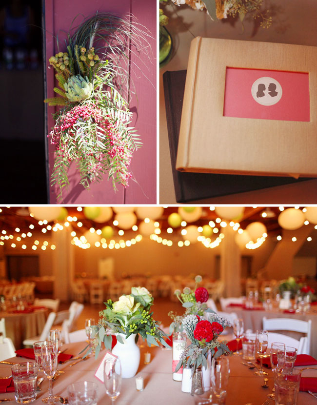 barn wedding with hanging lights