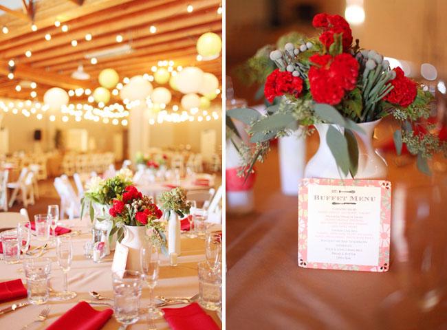 red flowers centerpiece