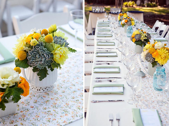 yellow and blue reception decor