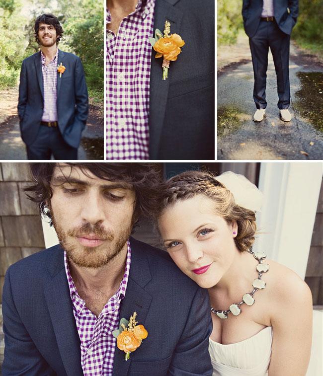 groom with plaid shirt