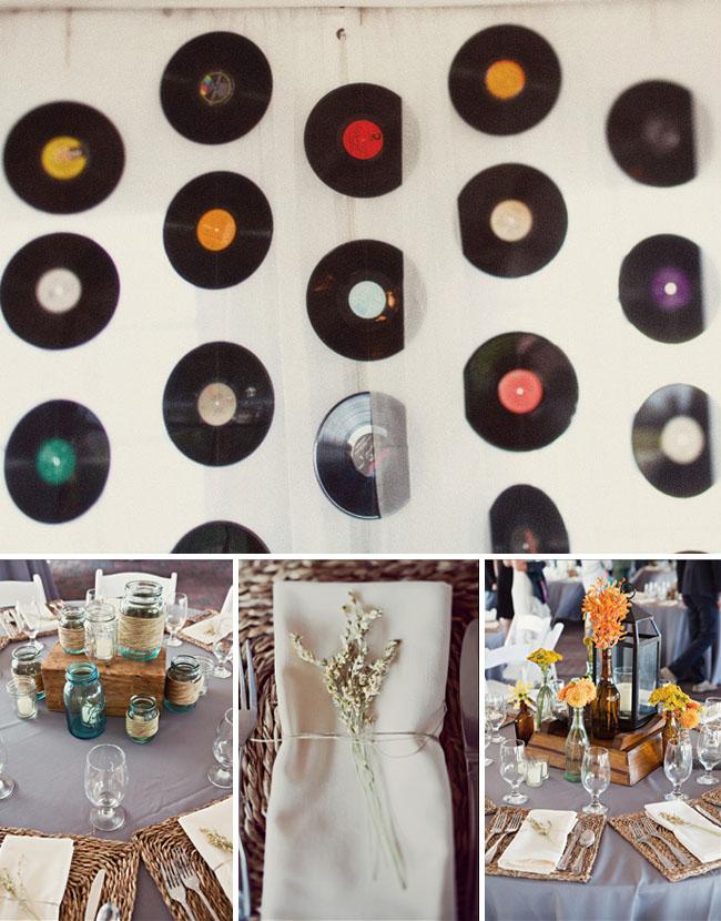 Hanging Records On Wall real wedding: brooke + ryan's fun north carolina wedding | green