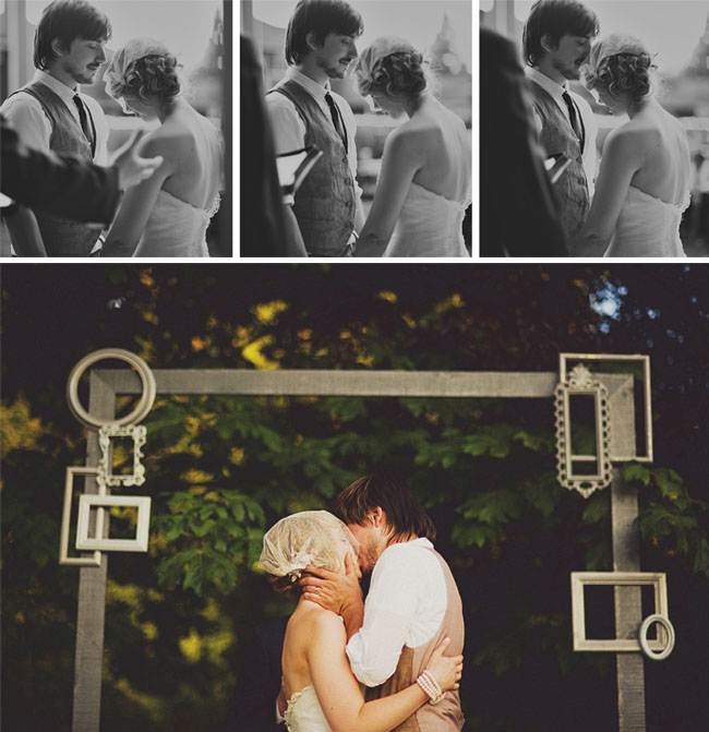 wedding couple with frames
