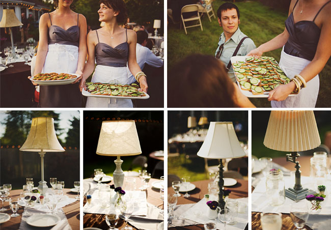 Lampshades On Tables Backyard Vintage Wedding Decorations