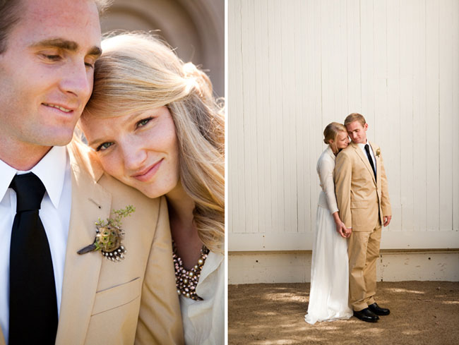 groom in tan suit