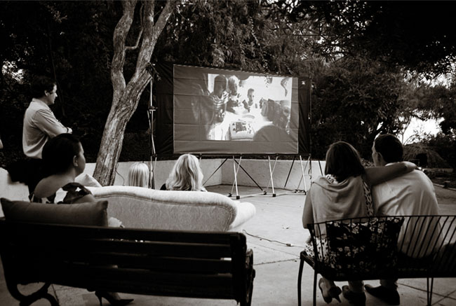 outdoor movie wedding reception