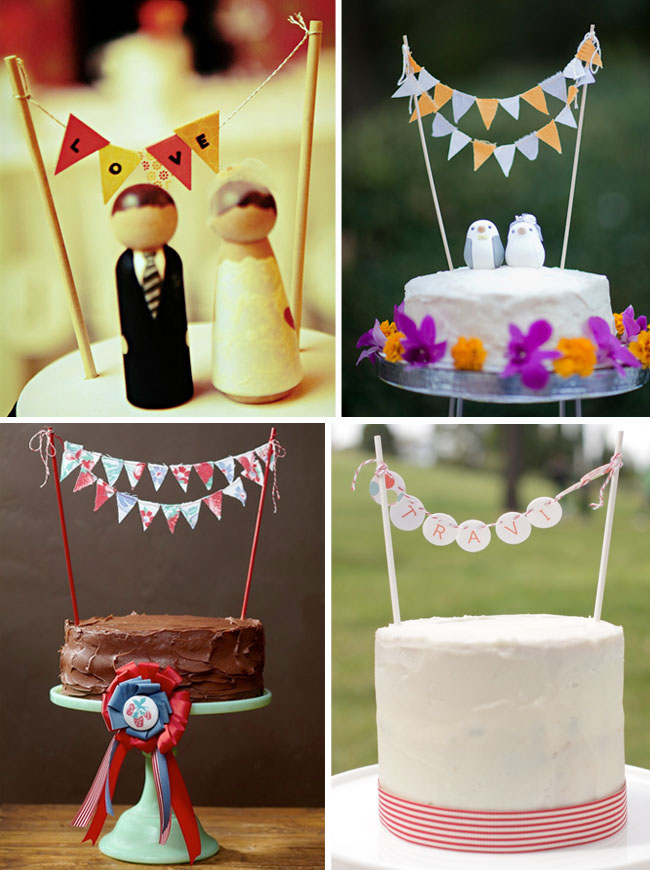 mini bunting on cakes