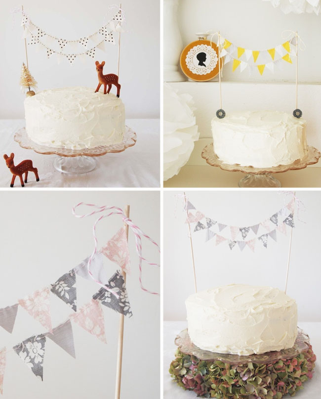 cake bunting vintage fabric