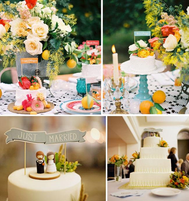 wedding flags on cake