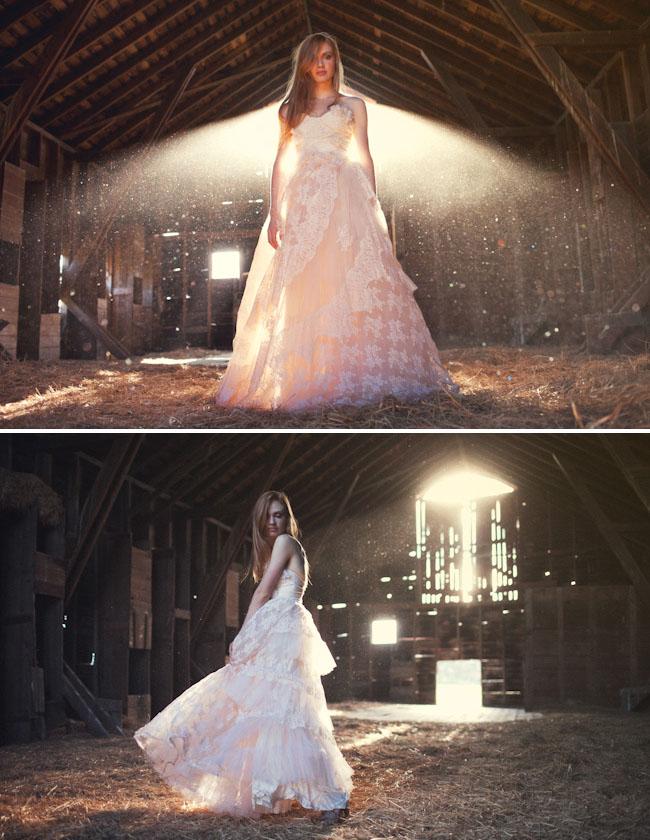 English Dept Wedding Dress in Barn
