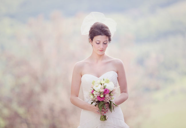 bride with modern veil