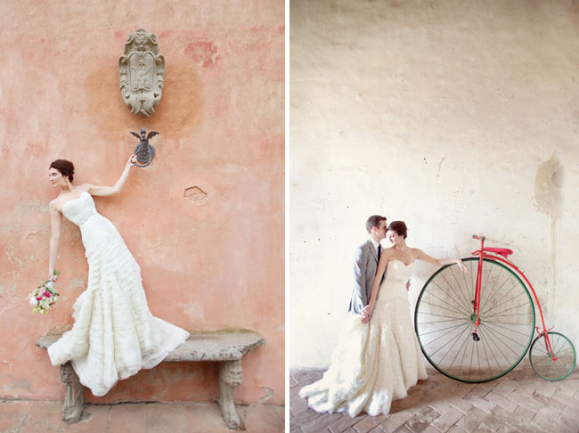 bride and groom with bike