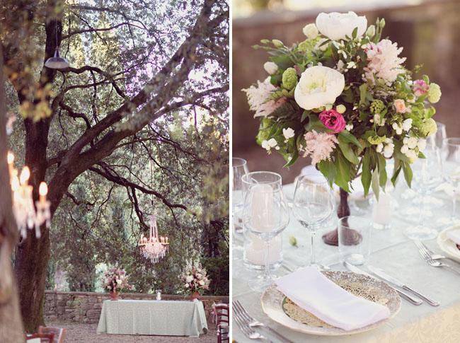 chandeliers trees wedding reception