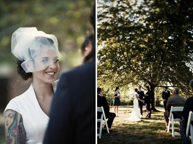 bride with fun veil