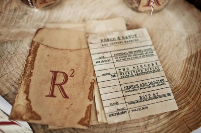 wedding invitation as library card