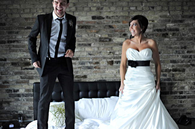 bride and groom hotel room