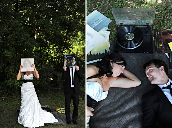 bride and groom with records