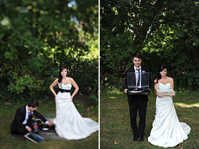 bride with black sash wedding dress