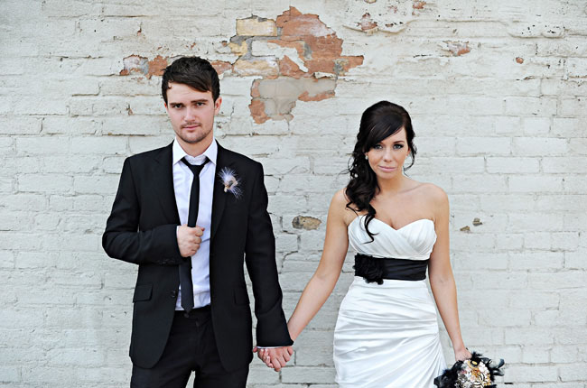 bride wedding dress black belt