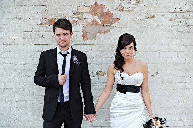 bride wedding dress black belt