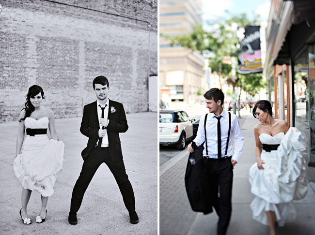 stylish bride and groom