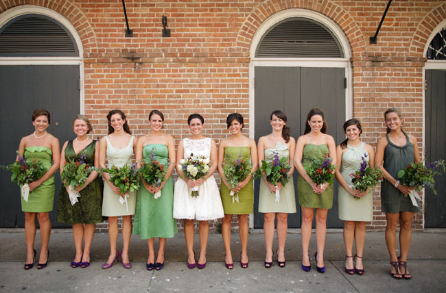 bridesmaids green dresses