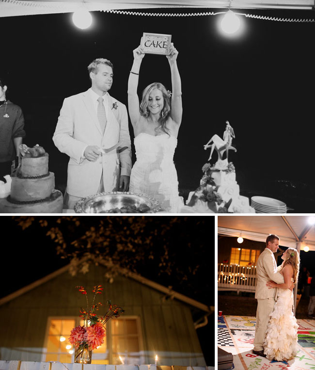 bride with cake sign