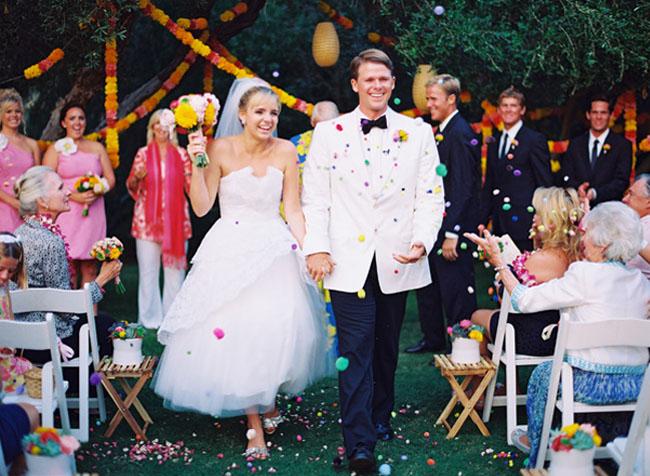 wedding exit with pom poms