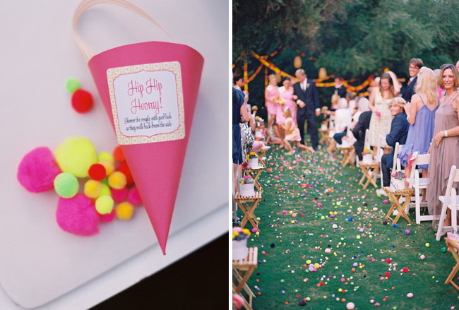 pom poms to throw at bride and groom