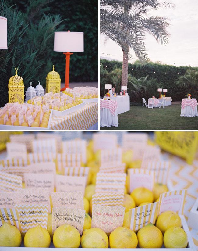 lemons for wedding place cards
