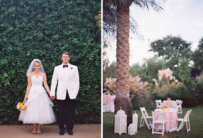 bride and groom in white tux