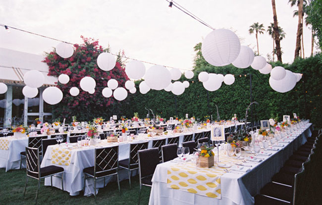 long tables for wedding reception