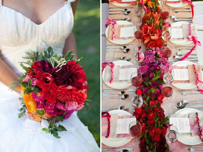 reds pinks orange flowers bouquet