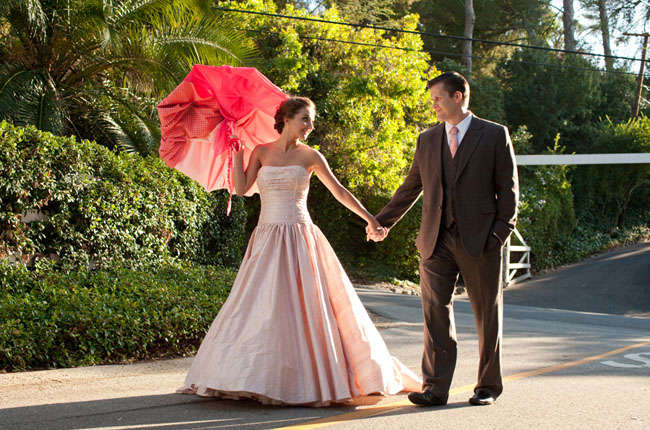 pink wedding dress umbrella
