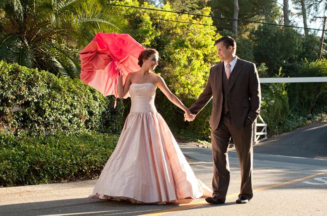 pink wedding dress umbrella