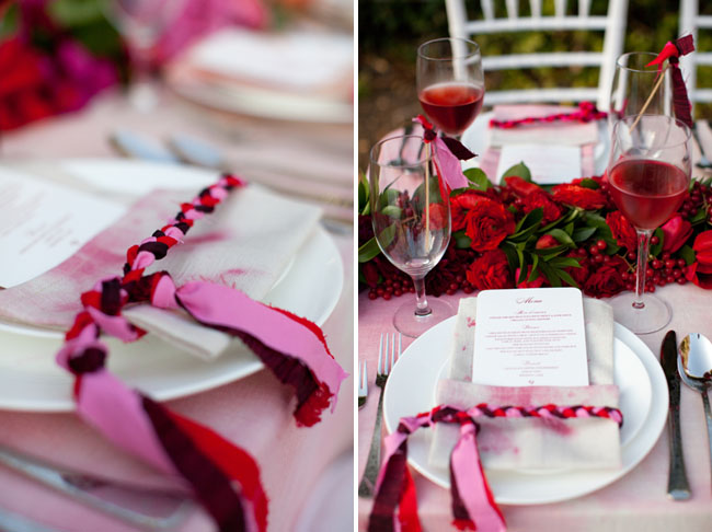 pink braided ribbons menu