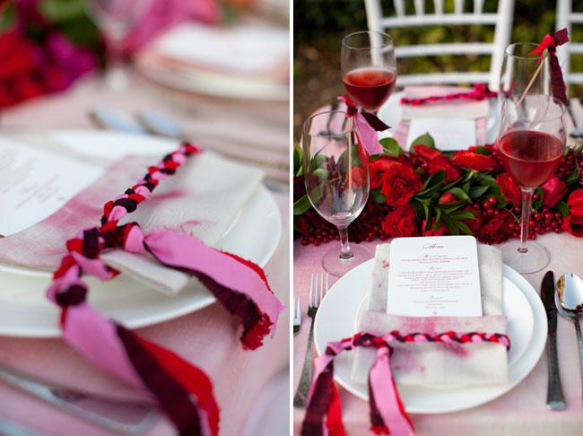 pink braided ribbons menu