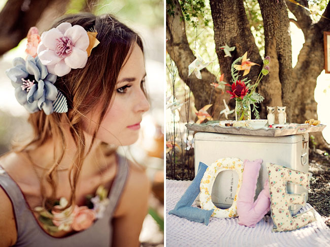 flower hair pieces and love pillows