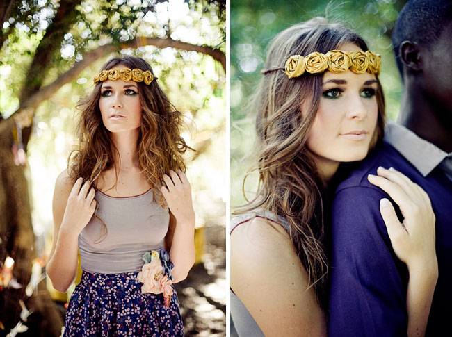 yellow flower headband boho chic