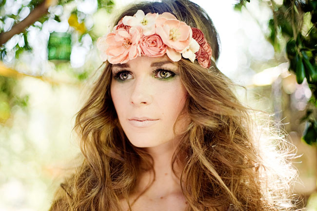 pink flower headband bohemian hair