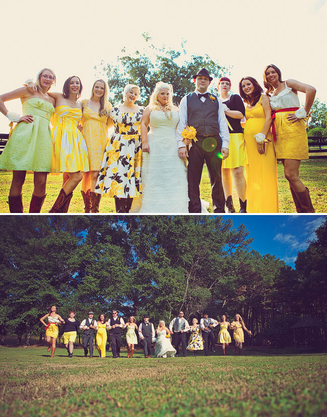 bridesmaids in yellow dresses nonmatching