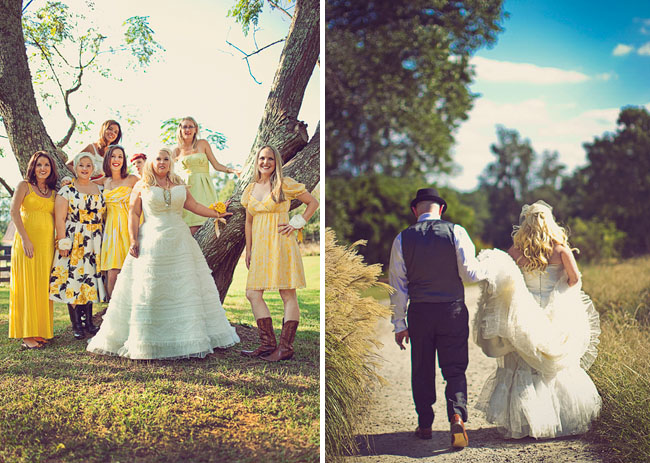 bride with yellow bridesmaids dresses