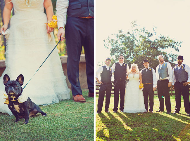 bride and groom with puppy dog in wedding