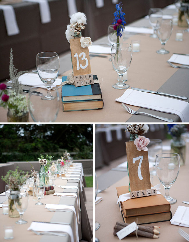 wedding table numbers with scrabble pieces